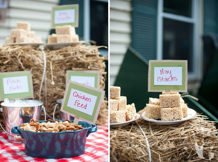 Kids farm party food labels farm theme chicken feed hay bales farm party decorations - Deco snack ...