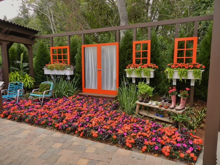 Outdoor room hanging door and windows secret garden for Pinterest outdoor garden rooms