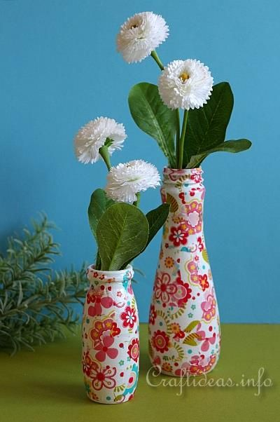 Recycling craft colorful vases using plastic bottles for Plastic bottle vase craft