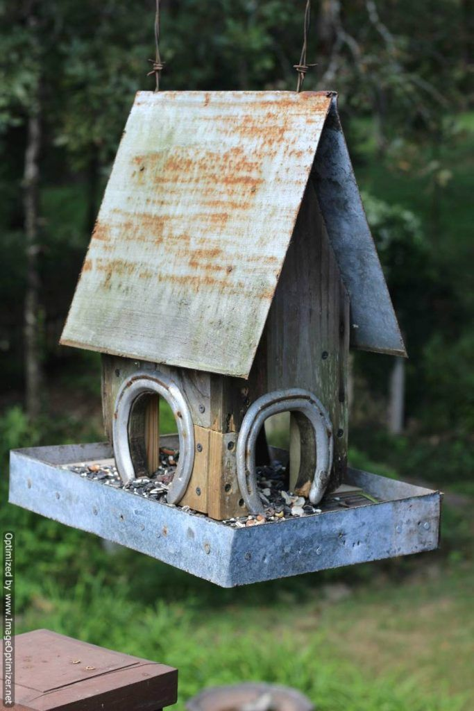 farmhouse-birdfeeder created from recycled tin, scrap wood and HORSE SHOES!!!!!! Cute!!! <3
