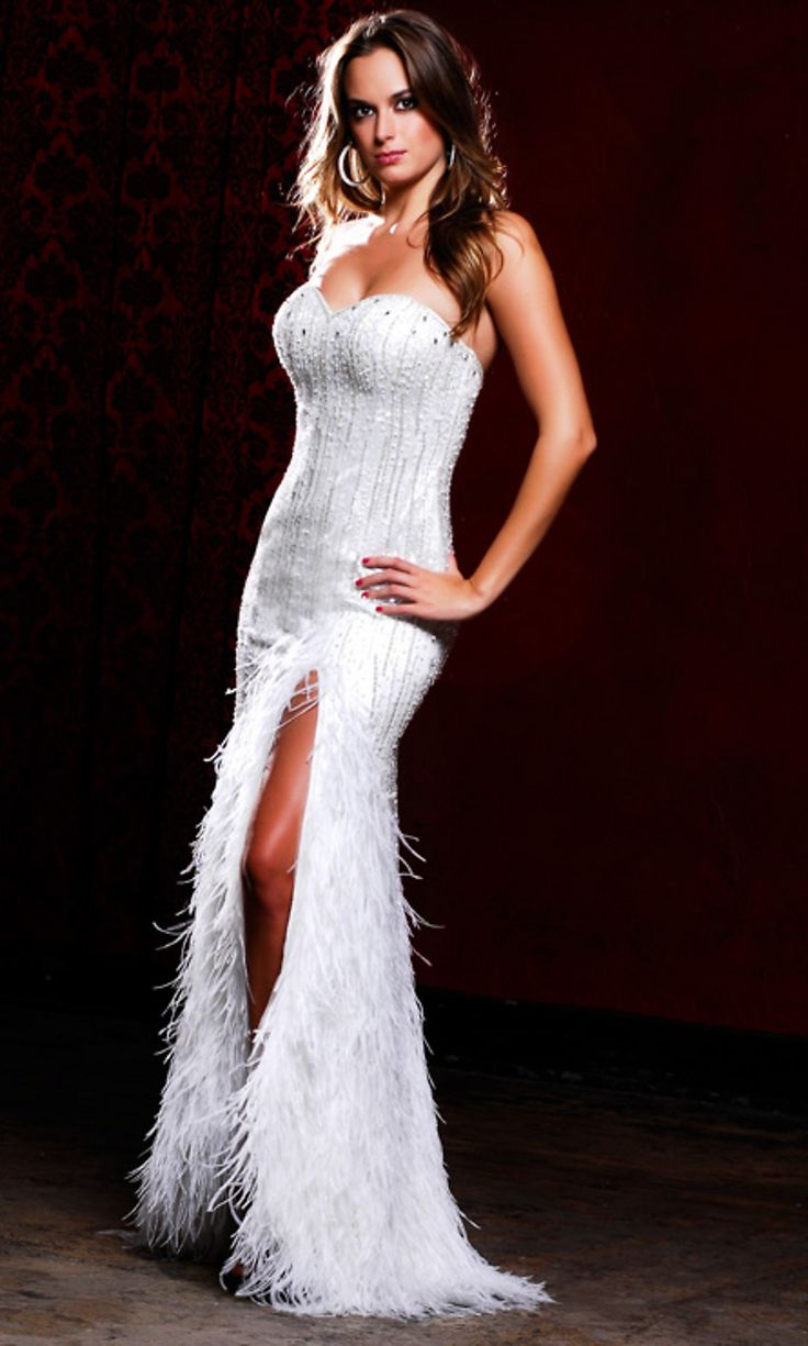 Beaded White Evening Dresses, White Beaded Prom Gowns  Starting at: $738.00