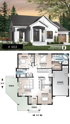Grande suíte master em estilo fazenda, bangalô, ilha de cozinha, lavanderia no andar …   – House plans