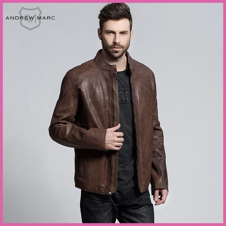 ANDREW MARC 2016 Genuine Cowskin Men's Leather Jackets Coat Slim 100% Leather Motorcycle Biker Jacket S-XXL TM6A1107