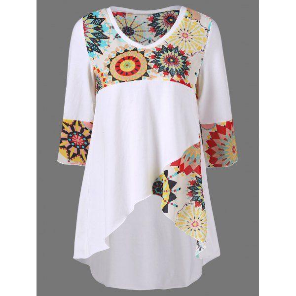 High Low Hem Graphic Longline T-Shirt, WHITE, XL in Tees & T-Shirts | DressLily.com