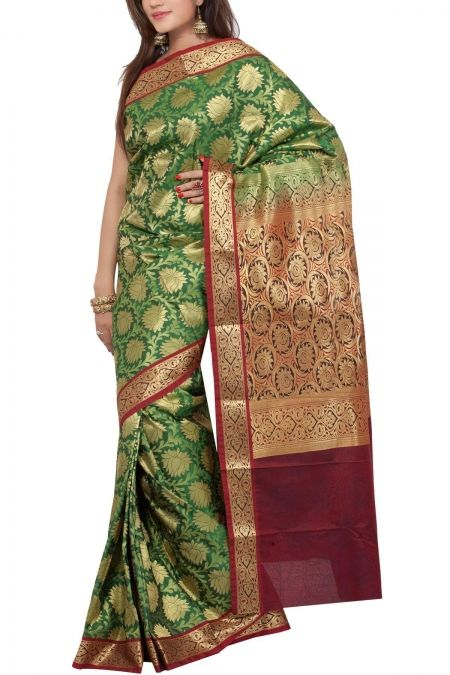 Green Maroon Brocade Art Silk Saree