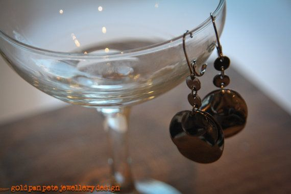 Black Chrome Three Disc Earrings by GoldPanPete on Etsy, $23.71
