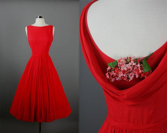 JERRY GILDEN fiery red cotton voile garden party dress