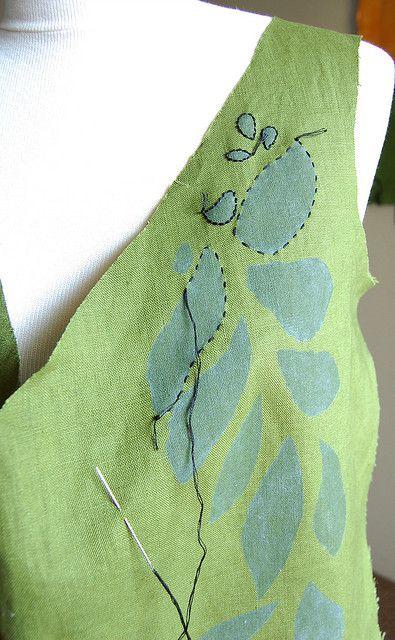Stencil and embroidery.  Brilliant alternative to applique!