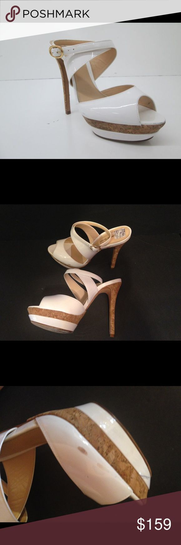 "Alexandre Birman white patent leather sandals Stunning white patent leather cork heels 5""3/4 heels. Has a few stains during traveling. Shows in pictures. White and gold platform alexandre birman Shoes Heels"