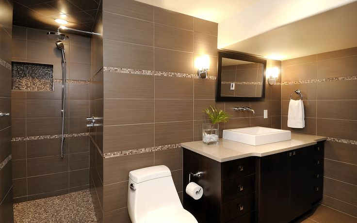 Modern neutral tiled bathroom design – via Atmosphere Interior Design   Saskatoon