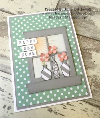 Cute new home card by Julie. Case of Michelle Last's card. Using Hearth & Home framelits Stampin Up