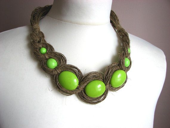 Green Necklace  linen necklace by GreyHeartOfStone on Etsy, $35.00