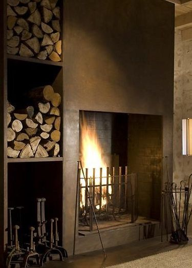 Need to build firewood storage on at least one side of the fireplace.