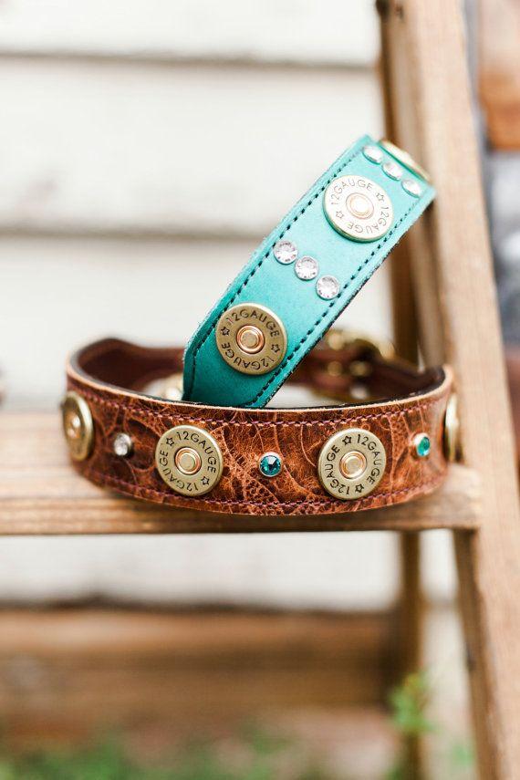 Leather Dog Collar // 12 Gauge Shotgun Shell by JandBCustomLeather