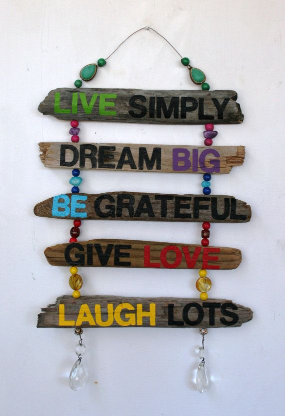 Inspirational Driftwood Art Hanging Sign: Live Simply, Dream Big, Be Grateful, Give Love, Laugh Lots