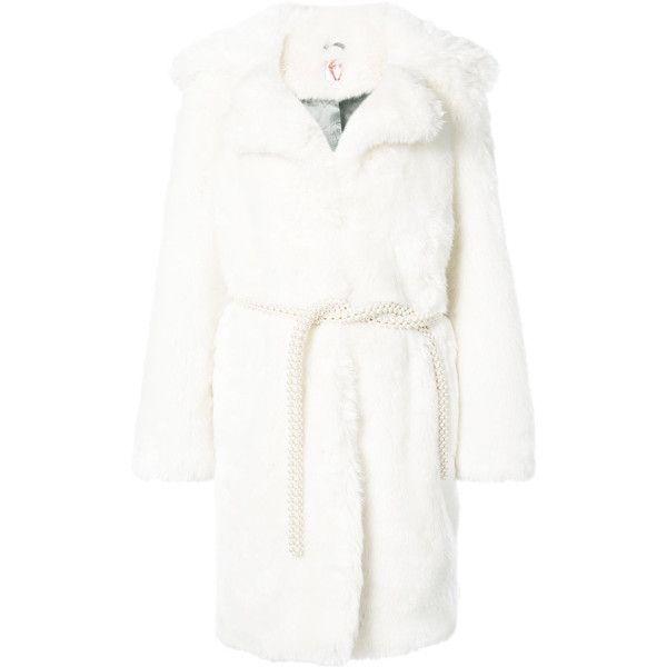 Shrimps long coat ($1,050) ❤ liked on Polyvore featuring outerwear, coats, white, white fake fur coat, white coat, shrimps coat, long coat and faux fur coat