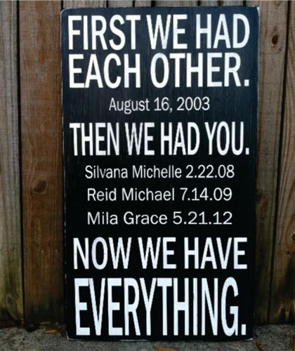 Now We Have Everything - 12x20 personalized hand painted and distressed wooden sign.