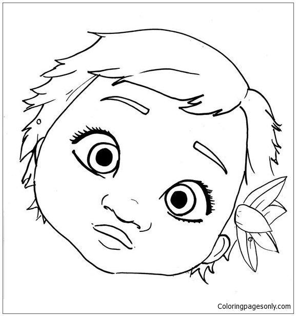 Cute Baby Moana Face Coloring Page Desenho Moana Desenhos Para