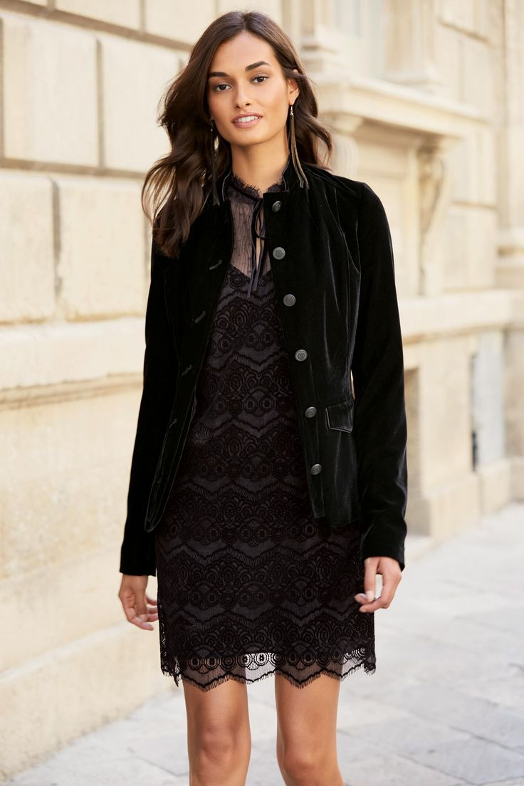 Черная бархатная куртка в стиле милитари - Покупайте прямо сейчас на сайте Next: Украина