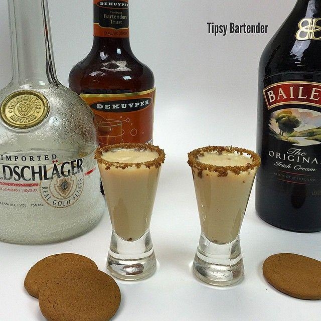 DRUNKEN GINGERBREAD MAN SHOTS 1/2 oz. (15ml) Baileys Irish Cream 1/2 oz. (15ml) Goldschlager Cinnamon Schnapps 1/2 oz. (15ml) Butterscotch Schnapps Ginger Snaps Cookies Caramel Syrup
