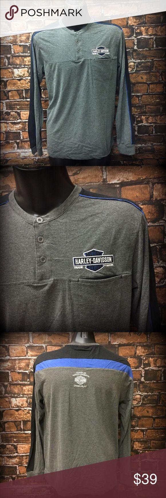 Harley-Davidson® Long Sleeve Henley Men's grey, black, and blue long sleeve Henley. Embroidered long BAR AND SHIELD at front above pocket, logo embroidered at back. Harley-Davidson Shirts Tees - Long Sleeve