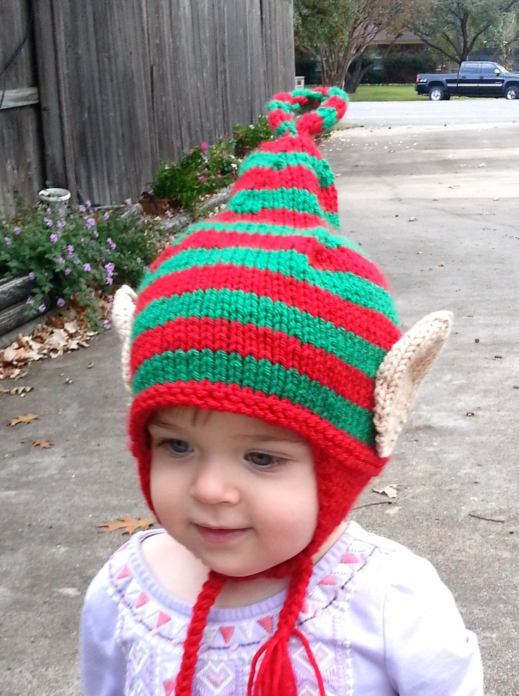 Knitting Patterns For Baby Elf Hats : Baby Elf Hat, Baby Elf Beanie, Elf Hat, Elf Ears, Christmas Hat, Baby Christm...