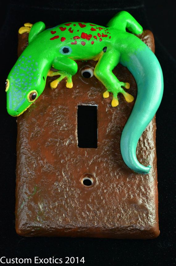 Polymer Clay Peacock Day Gecko Light Switch Plate Hand