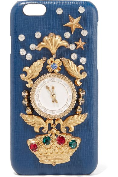 Dolce & Gabbana - Crystal-embellished Croc-effect Leather Iphone 6 Case - Blue - one size