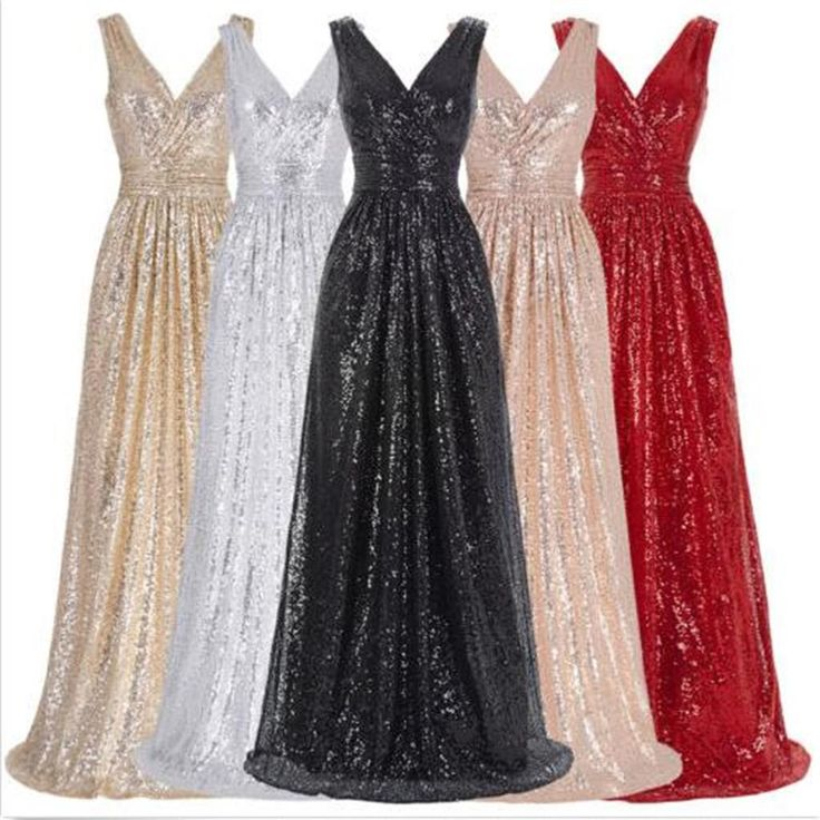 Long V-Neck Sequin Sparkly A-Line Red Black Silver Bridesmaid Dresses , PD0299