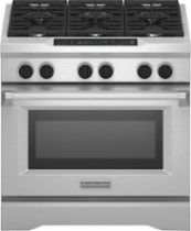 KITCHENAID 5.1 Cu. Ft. Self-Cleaning Freestanding Dual Fuel Convection Range: Glass-touch oven controls; 6 burners; 500-20,000 BTUs of heat; 2 Ultra Power dual-flame burners; Even-Heat true convection system; self-cleaning oven; sabbath mode