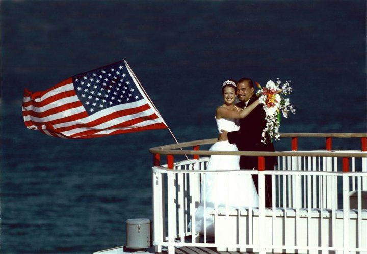 Exchange vows on the Desert Princess, a three-level paddle-wheeler on Lake Mead outside of Las Vegas, Nevada.
