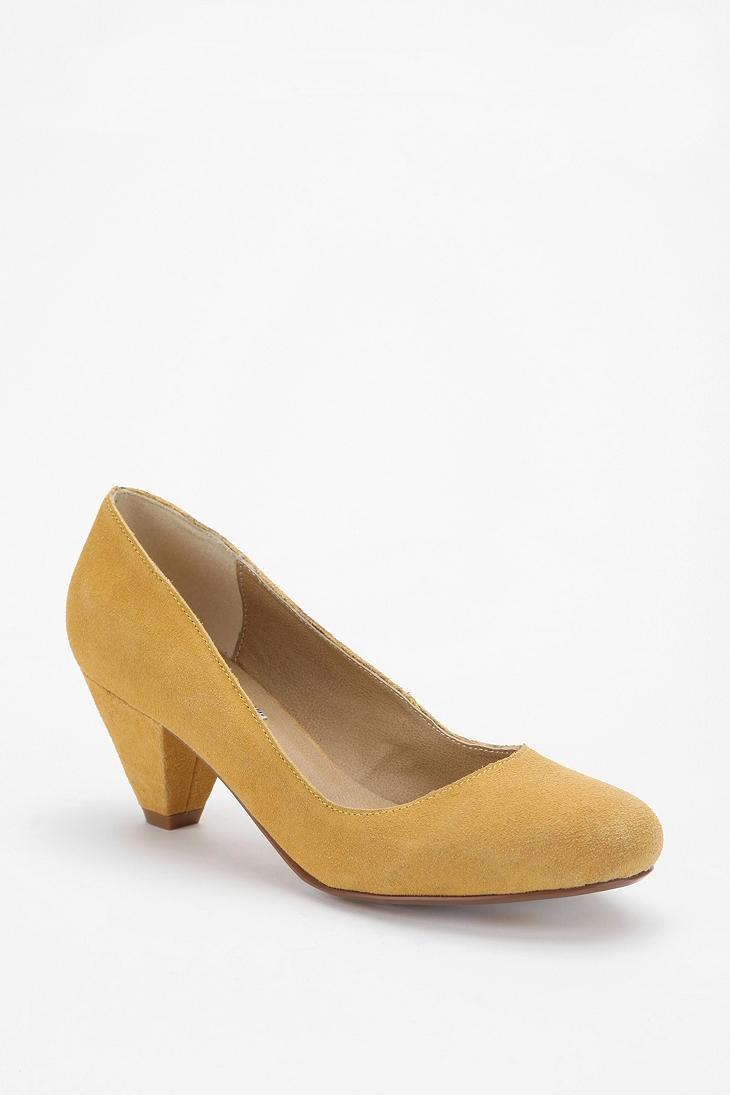 Yellow Kitten Heel Shoes