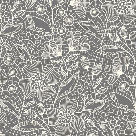 Floral lace (white on gray) fabric by heleen_vd_thillart on Spoonflower - custom fabric