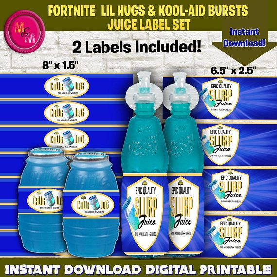 Fortnite Chug Jug Slurp Juice Label Printable Set Fortnite Juice Label Set Fortnite Lil Hugs Wrappers Fortnite Kool Aid Printable Labels Smart Water Bottle