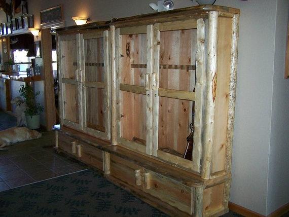 24 Gun Log Gun Cabinet Custom Built Heavy By Davesrusticfurniture, $3895.00
