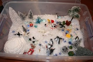 Winter Wonderland Sensory Box - I'm liking the natural ingredients she uses. After Miss V's reaction to the aquarium gravel, our sensory tubs are going to be more focused on natural items or items that I color myself with plant-based dyes.