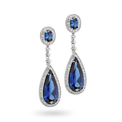 Bling Jewelry Sapphire Color Teardrop Chandelier Earrings