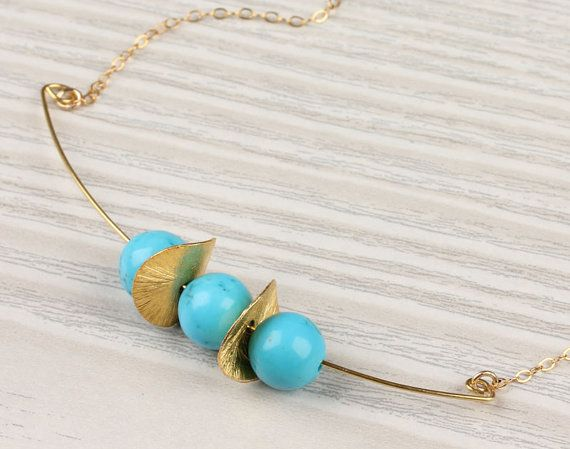 Turquoise necklace, turquoise and gold, stone pendant, 14k gold necklace,  bridal necklace,  bridesmaid necklace,  wavy disc, Thespia