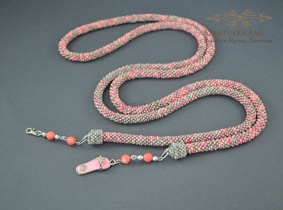 Pastel melange Long Necklace gift for her pink by SzkatulkaAmi