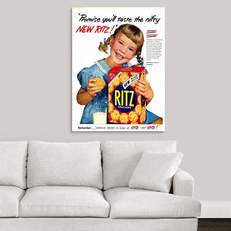"GreatBigCanvas """"Ritz Crackers Advertisement""""by Great BIG Canvas Canvas Wall Art, Multi-Color"