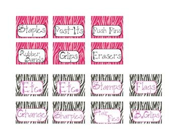Teacher Toolbox Labels... Zebra themed!