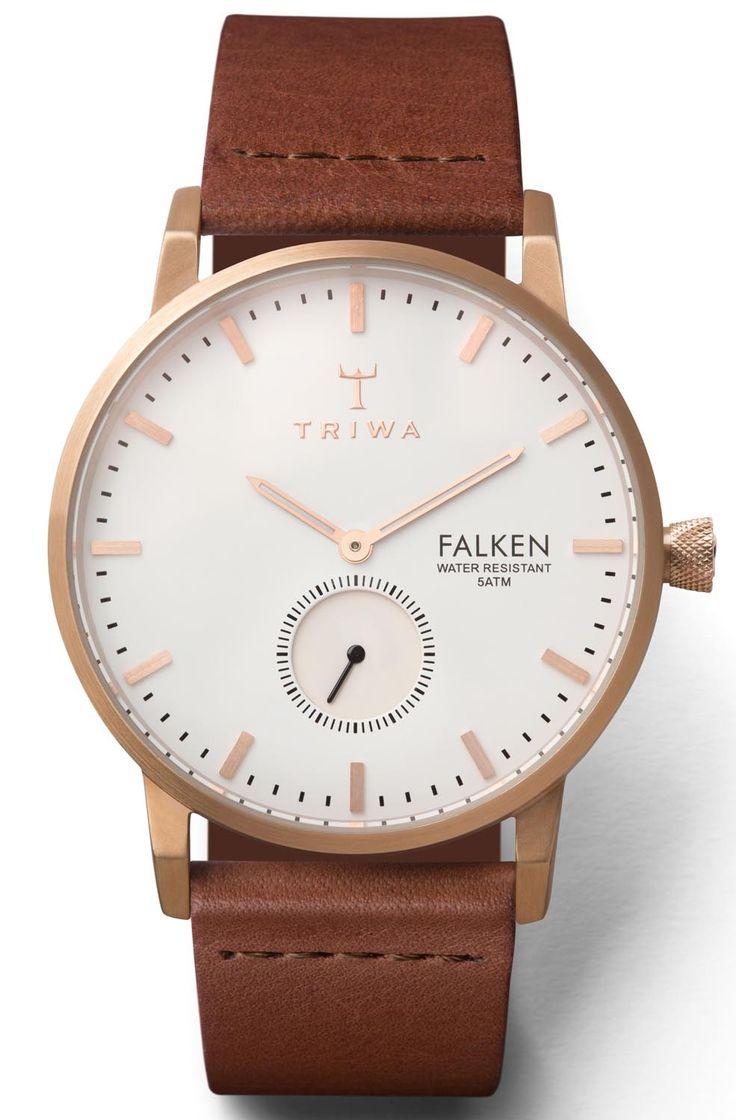 Stilrent armbåndsur med rødguld kasse og brun læderrem - Triwa Rose Falken Brown Classic FAST101.CL010214