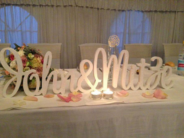Wood carved wedding decor