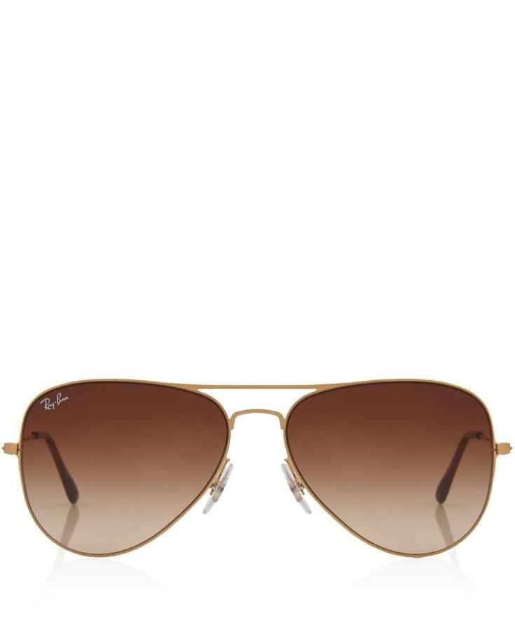 Ray-Ban Dark Brown Aviator Flat Metal Sunglasses | Women's Sunglasses by  Ray-Ban
