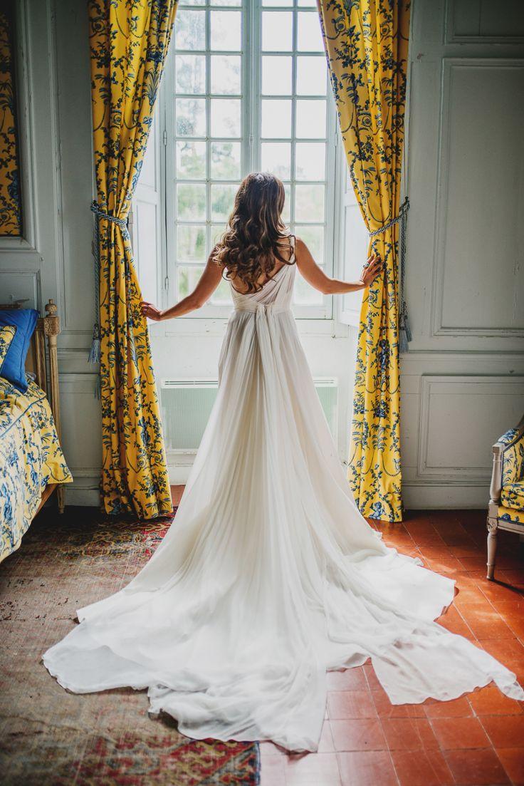 Wedding Dress: Baharak Nekessa (bride) - http://www.stylemepretty.com/portfolio/baharak-nekessa-(bride) Photography: Claire Morris - www.clairemorrisphotography.com   Read More on SMP: http://www.stylemepretty.com/destination-weddings/france-weddings/2017/01/21/saturday-morning-movie-french-chateau-stylish-wedding/