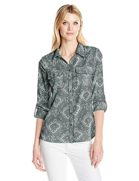 c4e5a43e42d Notations Women s Plus Size 3 4 Sleeve Printed Y Neck Untility Blouse