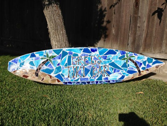 162 best mos ics surfbo rds images on pinterest mosaic for Surfboard bar top ideas