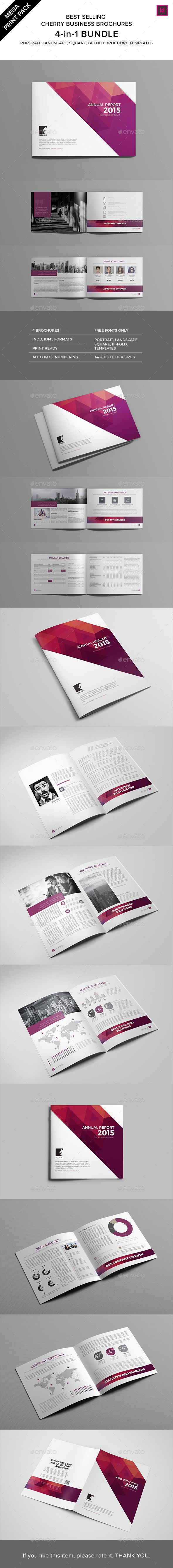 InDesign Cherry Brochures Bundle  Template • Only available here ➝ http://graphicriver.net/item/print-pack-cherry-brochures-bundle/15030313?ref=pxcr