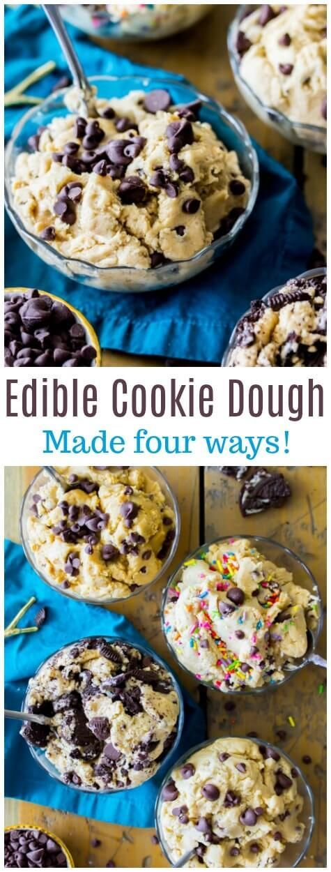 Edible Cookie dough made with toasted flour and made without eggs || Sugar Spun Run via @sugarspunrun