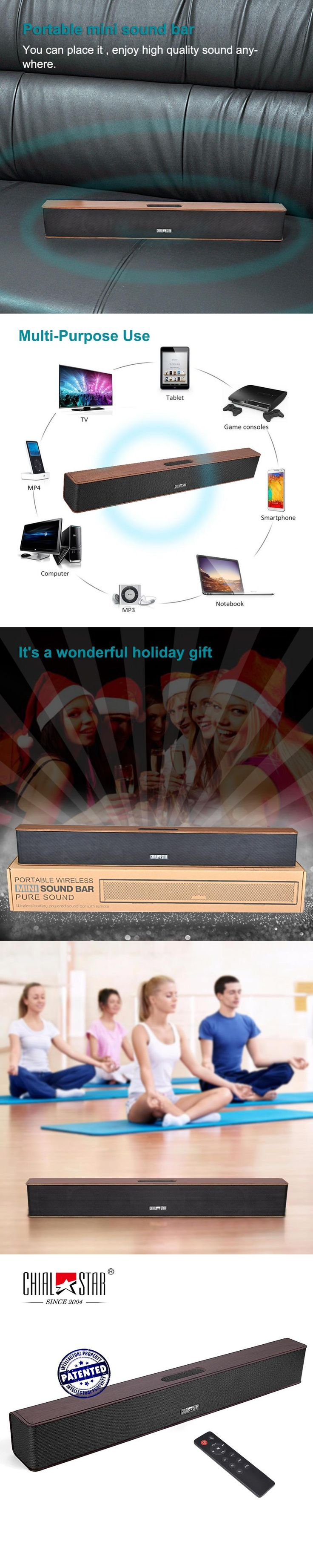 Wood Grain Wireless Soundbar Chialstar Mini Sound Bar Audio Stereo Speakers Music Player for Gym,Yoga,Party,Outdoor,Cycling